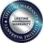Lifetime warranty, luxurious silver round label.