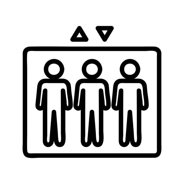 lift and people icon vector. Isolated contour symbol illustration lift and people icon vector. A thin line sign. Isolated contour symbol illustration human limb stock illustrations