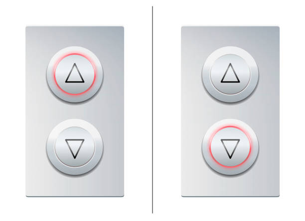 Lift call buttons with arrows to choose upwards or downwards. Isolated vector illustration on white background. vector art illustration