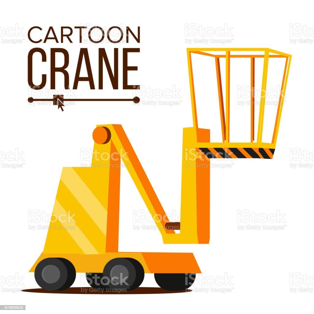 Lift Crane Vector. Lifting Construction Machine Icon. Classic Yellow Isolated Flat Cartoon Illustration vector art illustration