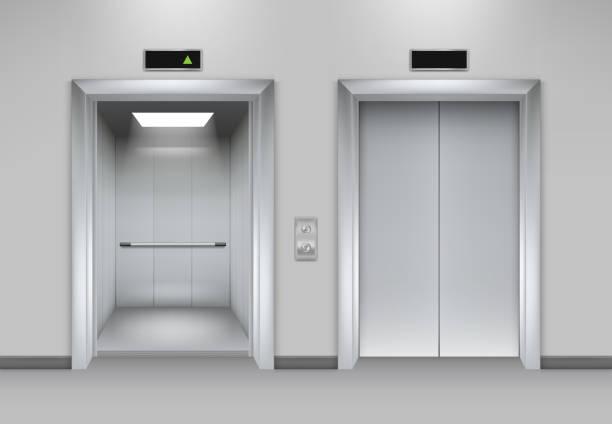 illustrazioni stock, clip art, cartoni animati e icone di tendenza di ascensore porte edificio. facciata ufficio aziendale interni chiusura realistica porte apribili ascensore chrome metal pulsanti immagini vettoriali - ascensore