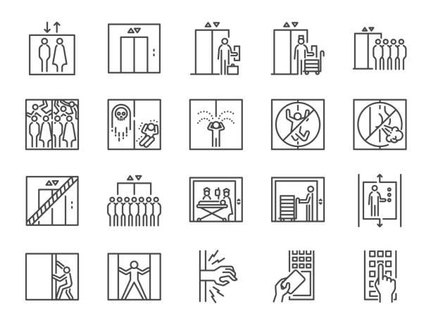 illustrazioni stock, clip art, cartoni animati e icone di tendenza di lift line icon set. included icons as elevator, goods elevator, goods lift, passenger, freight and more. - ascensore