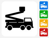 Lift Truck Icon. This 100% royalty free vector illustration features the main icon pictured in black inside a white square. The alternative color options in blue, green, yellow and red are on the right of the icon and are arranged in a vertical column.