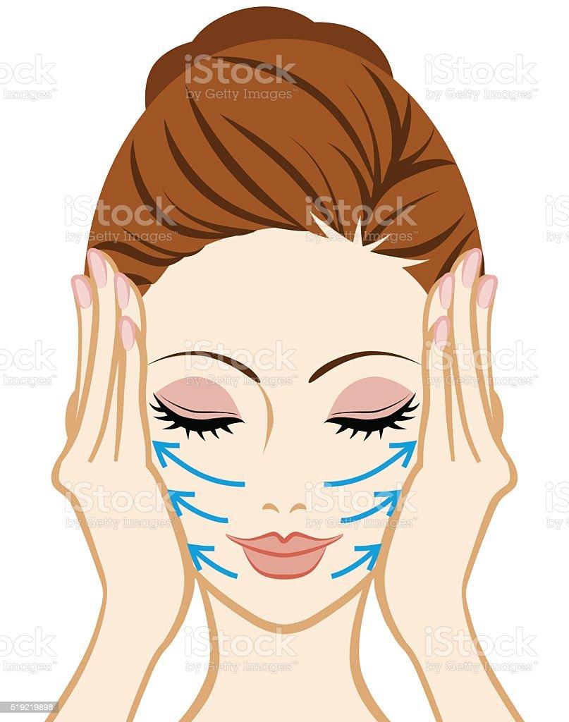 Levantar-Tratamiento Facial cuidado de la piel - ilustración de arte vectorial