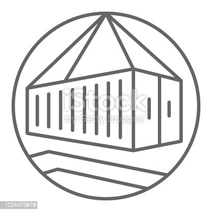 istock Lifting container thin line icon, delivery symbol, crane hook loading container vector sign on white background, pulley icon in outline style for mobile concept and web design. Vector graphics. 1224472619