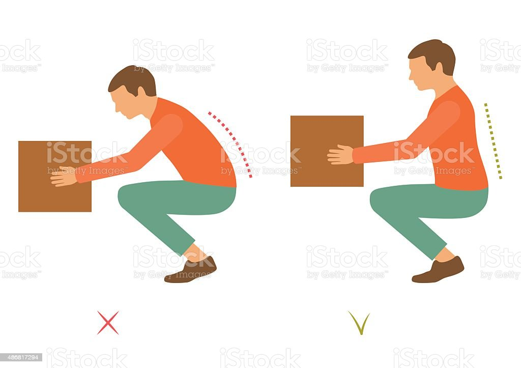 lifting correct posture vector art illustration