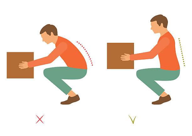 stockillustraties, clipart, cartoons en iconen met lifting correct posture - oppakken