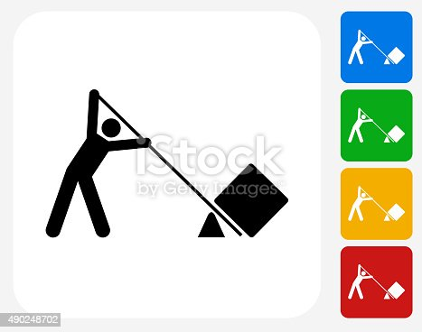 Lifting Icon. This 100% royalty free vector illustration features the main icon pictured in black inside a white square. The alternative color options in blue, green, yellow and red are on the right of the icon and are arranged in a vertical column.