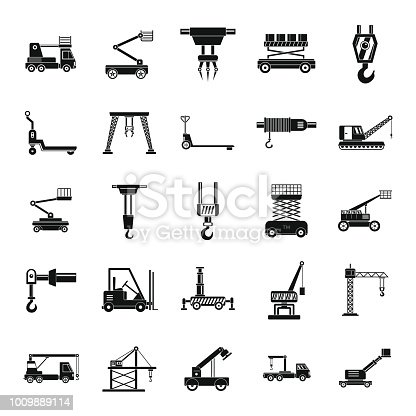 Lifting machine equipment icons set. Simple illustration of 25 lifting machine equipment cargo vector icons for web