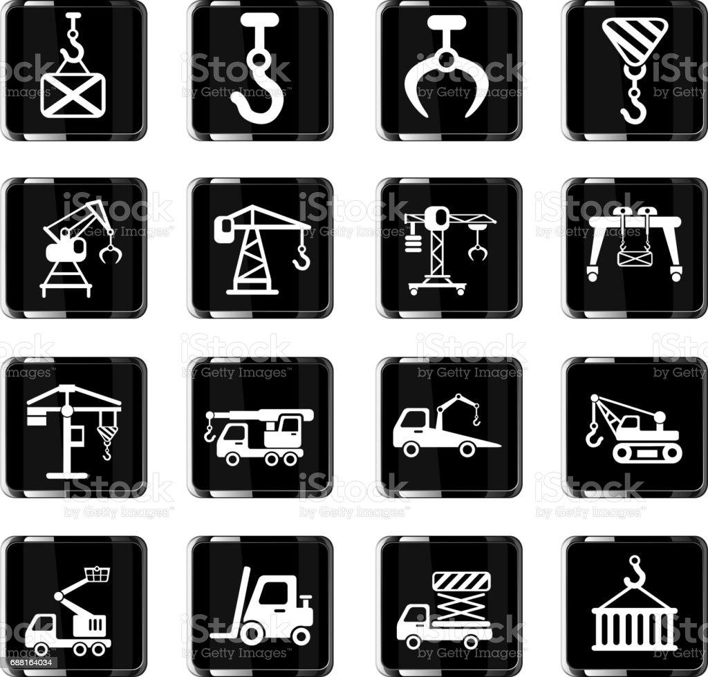 lifting machines icon set vector art illustration