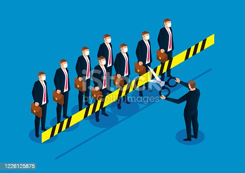 istock Lifting the crisis, businessman holding scissors cut off the cordon to isolate people 1226125875