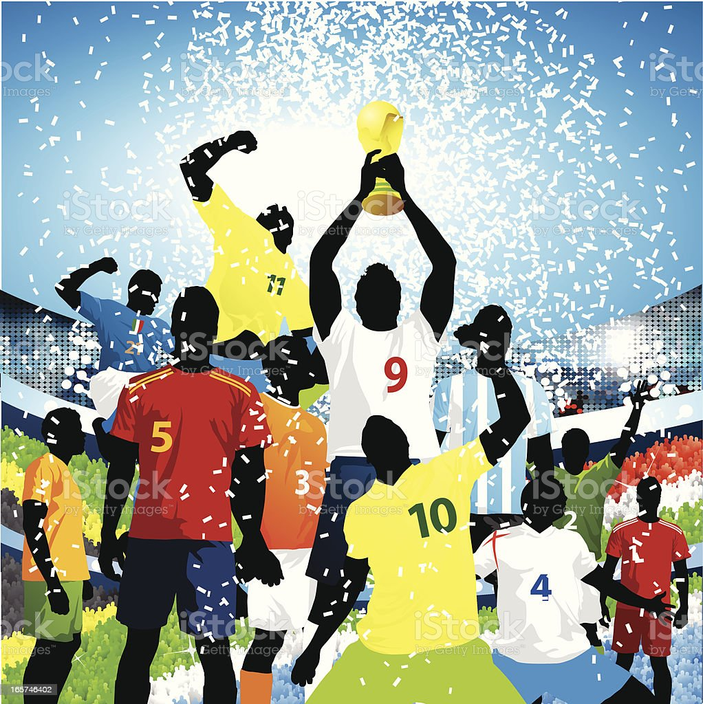 Lifting the world cup! royalty-free stock vector art