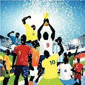 Who will win the world cup? A myriad of player representing teams all around the world including the US, Brazil, South Africa, Ivory Coast, Italy, Spain, Netherlands, Argentina, England, Portugal and Nigeria assembled to lift the world cup trophy with confetti falling from the sky.