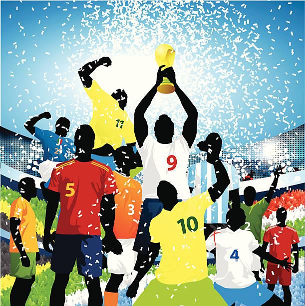 stockillustraties, clipart, cartoons en iconen met lifting the world cup! - internationale voetbal