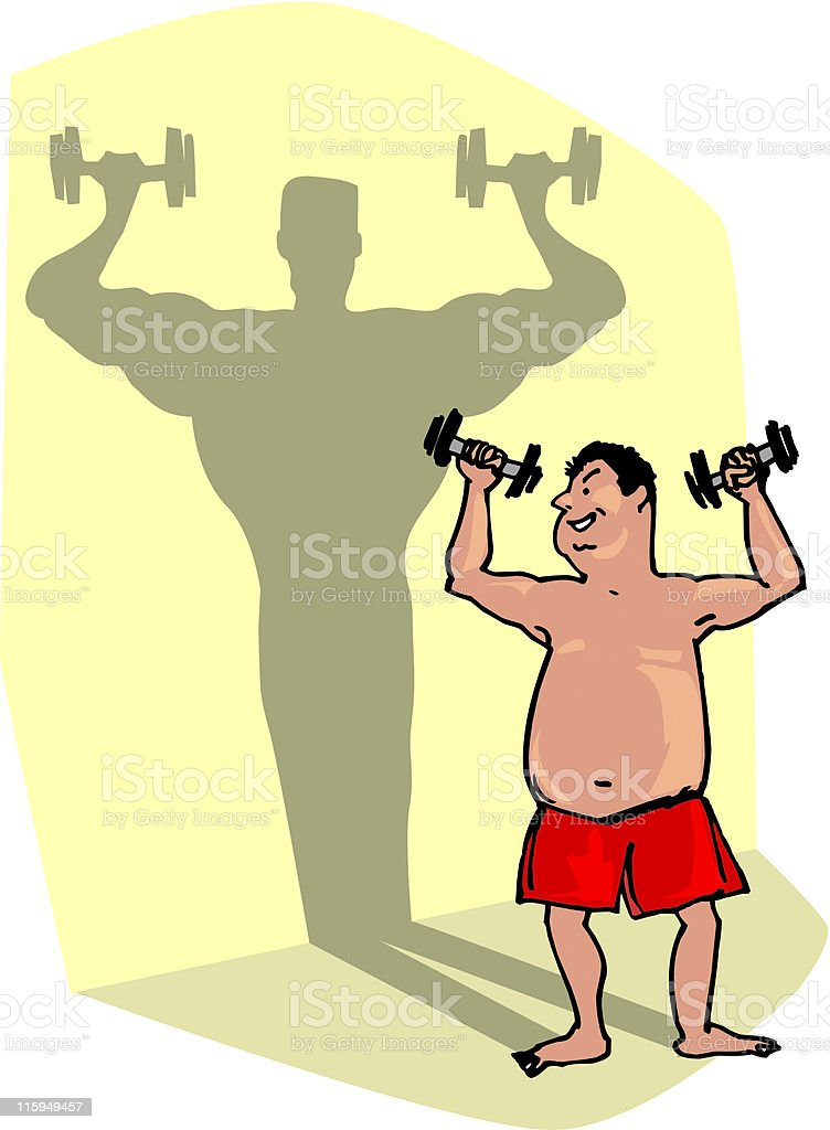 Lifting weights vector art illustration