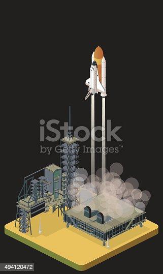 isometric shuttle liftoff