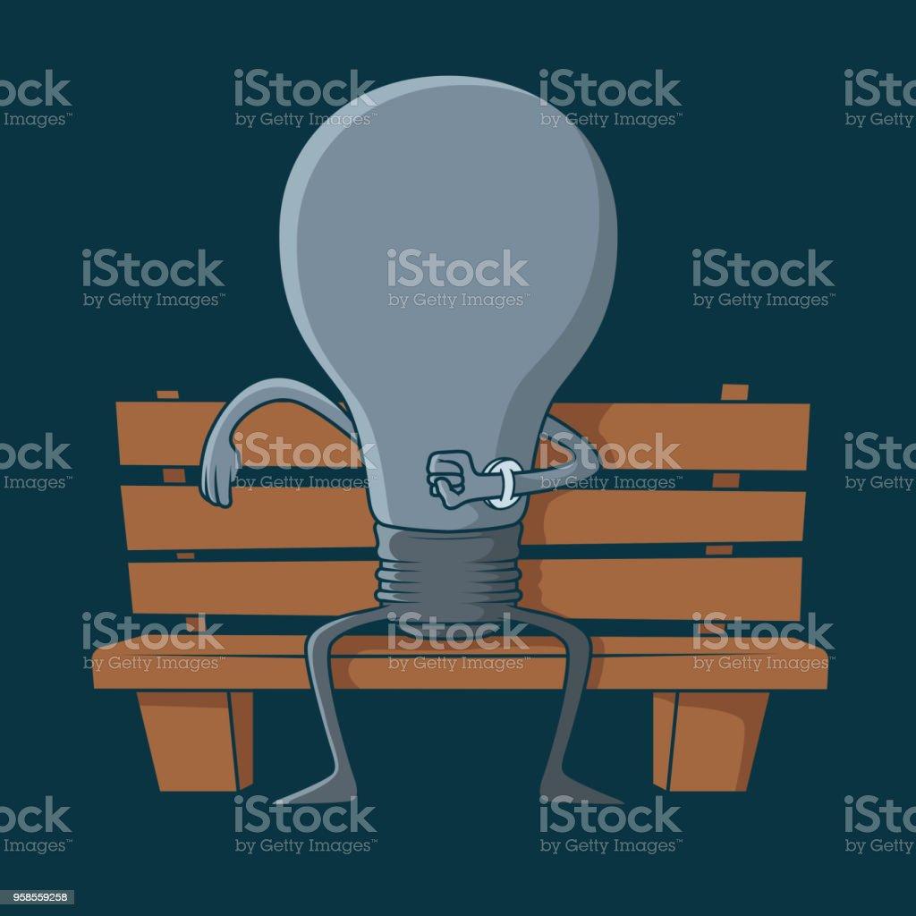 Ilustración de Bombilla De Luz Esperando Inspiración En Una ...