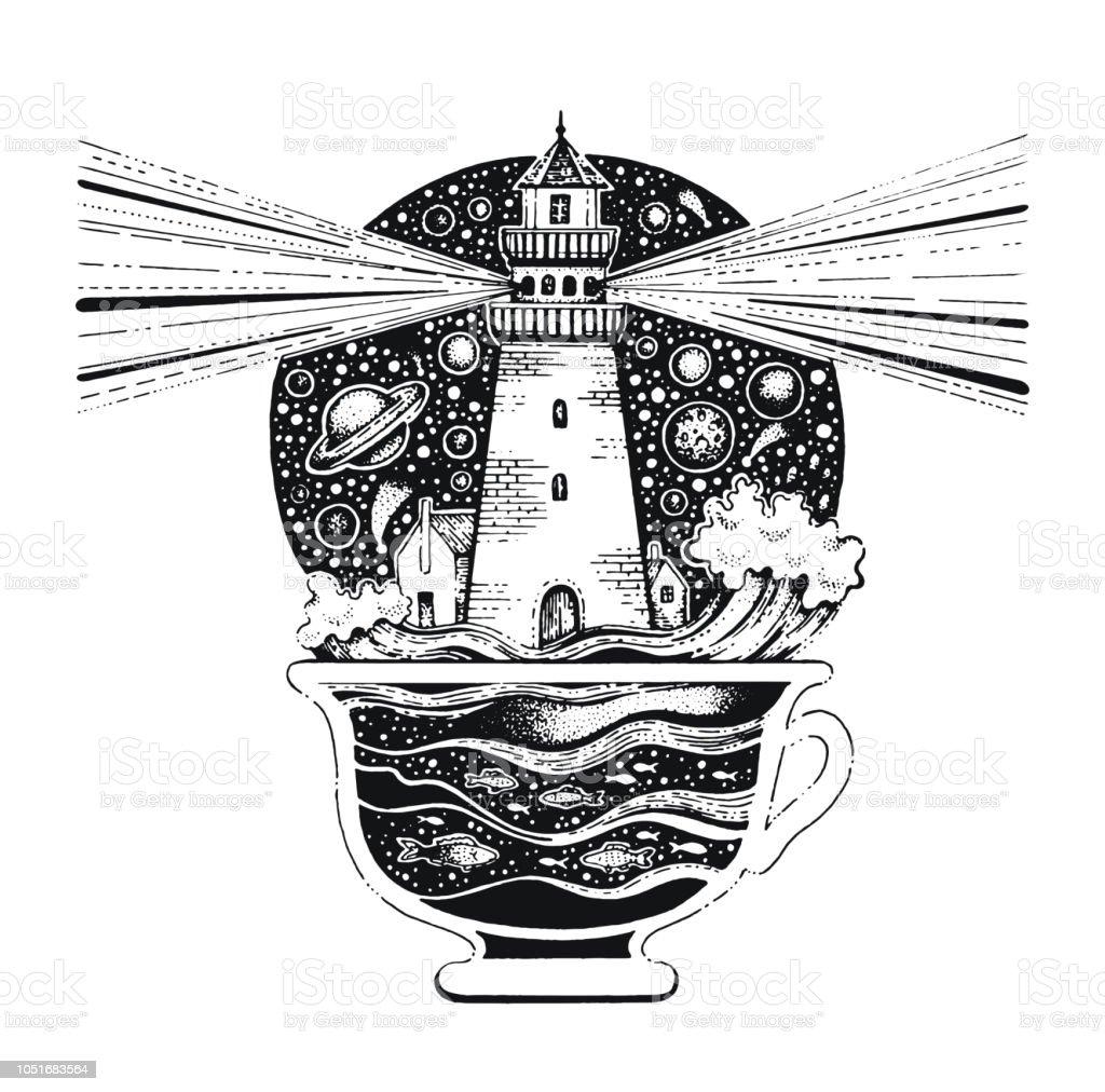 海の波でコーヒー カップで Lighghouse。T シャツ プリントやタトゥーの黒シルエット。手には、アパレルのシュールなデザインが描かれました。ビンテージ ベクトル図では、白い背景で隔離の ベクターアートイラスト