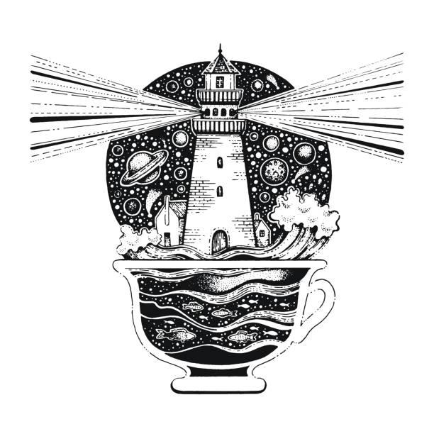 ilustrações, clipart, desenhos animados e ícones de lighghouse em xícara de café com as ondas do oceano. silhueta negra para impressão de t-shirt ou tatuagem. mão-extraídas design surreal para vestuário. ilustração em vetor vintage, esboço isolado no fundo branco - tatuagens de lua