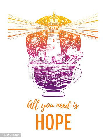 Lighghouse in coffee cup with ocean waves. Silhouette for t-shirt print with slogan. Hand drawn surreal design for apparel with text. Vintage vector illustration, sketch isolated on white background