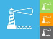 istock Lighhouse  Flat Icon on Blue Background 1018599130