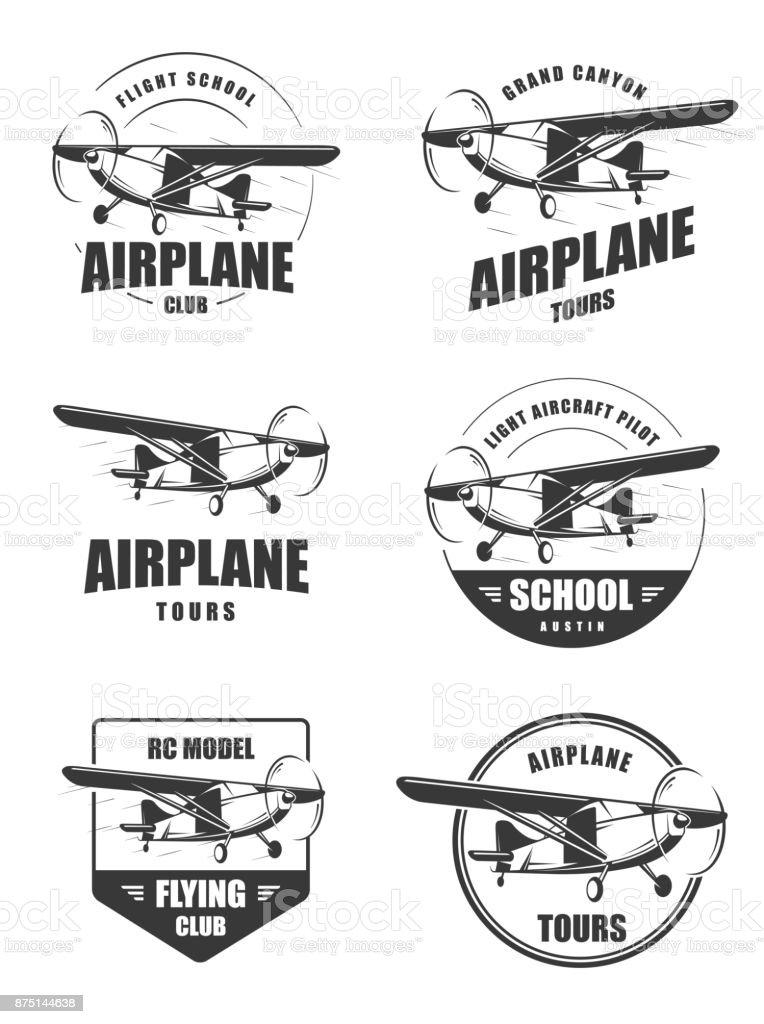 Light airplane related emblems. vector art illustration