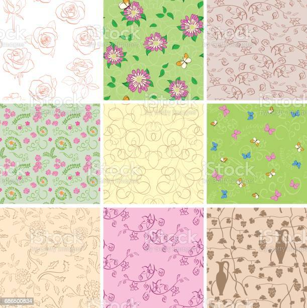 Light and dark seamless patterns with flowers vector backgrounds vector id686500834?b=1&k=6&m=686500834&s=612x612&h=4jbnn8jyyse9cs0yjljwfghwxva9w2q 9t6y3x njtu=