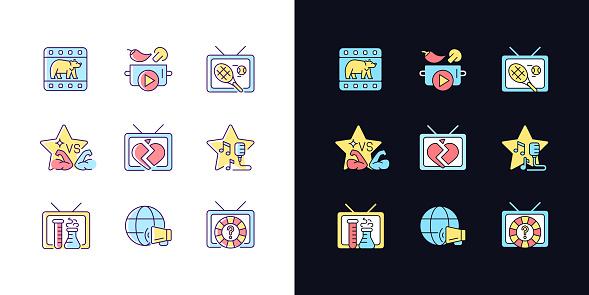 TV light and dark theme RGB color icons set