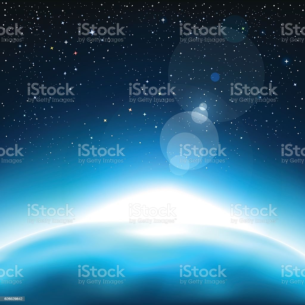 light and the blue planet vector art illustration