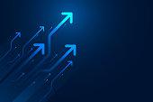 istock Light arrow circuit on blue background illustration. 1180144927