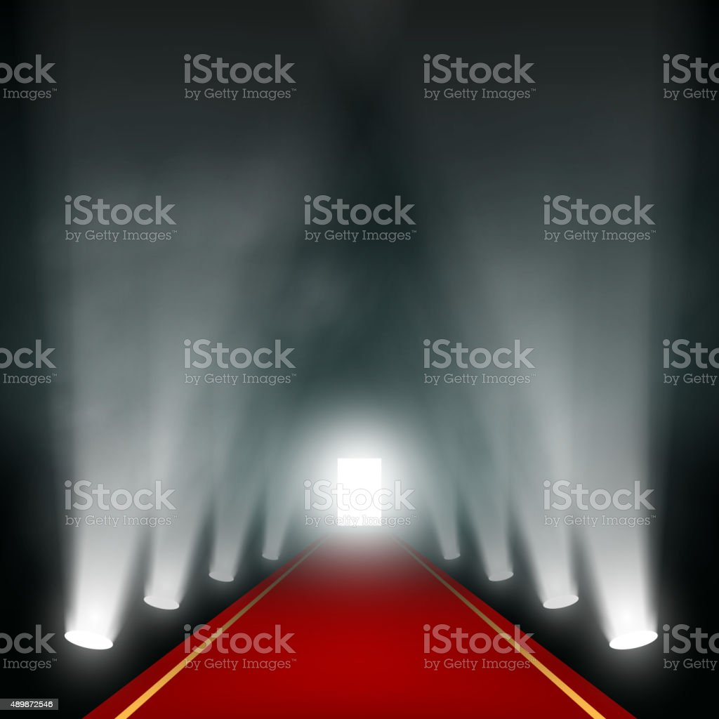 Light at the end of the corridor. vector art illustration