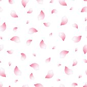 Light background seamless pattern with flying petals