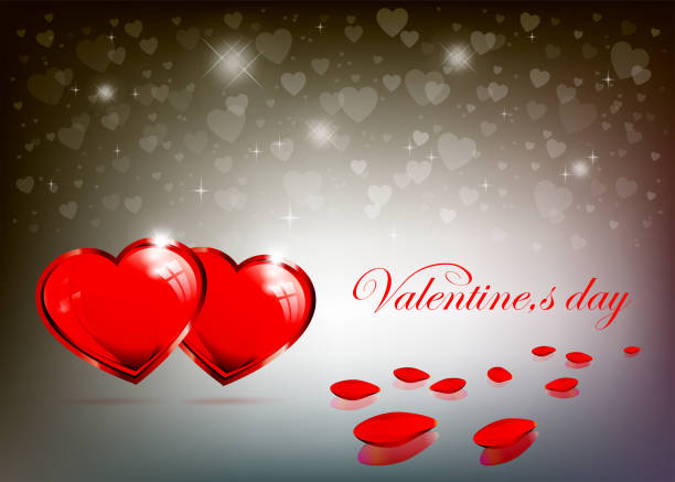 light background with rose petals and red hearts - leap year stock illustrations, clip art, cartoons, & icons