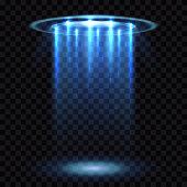 UFO light beam, aliens futuristic spacecraft isolated on transparent checkered