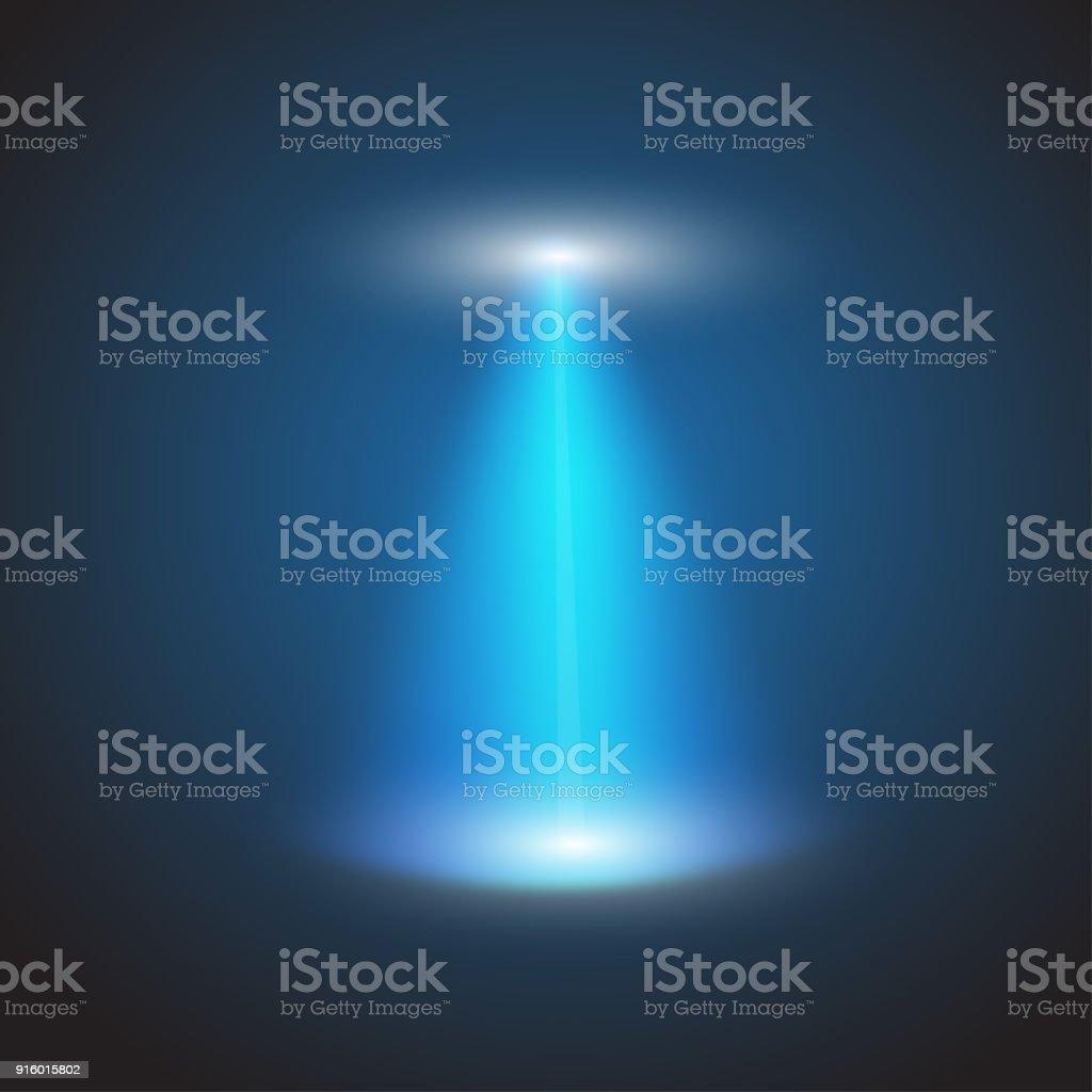Haz de luz UFO aislado sobre fondo a cuadros. Ilustración de vector - ilustración de arte vectorial