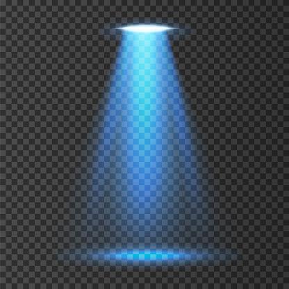UFO light beam isolated on white background. Vector illustration.