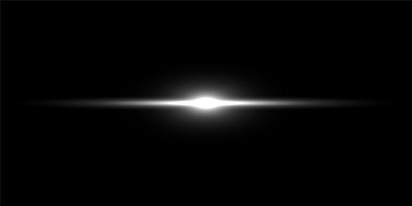 Light beam on black background. Vector flash light.