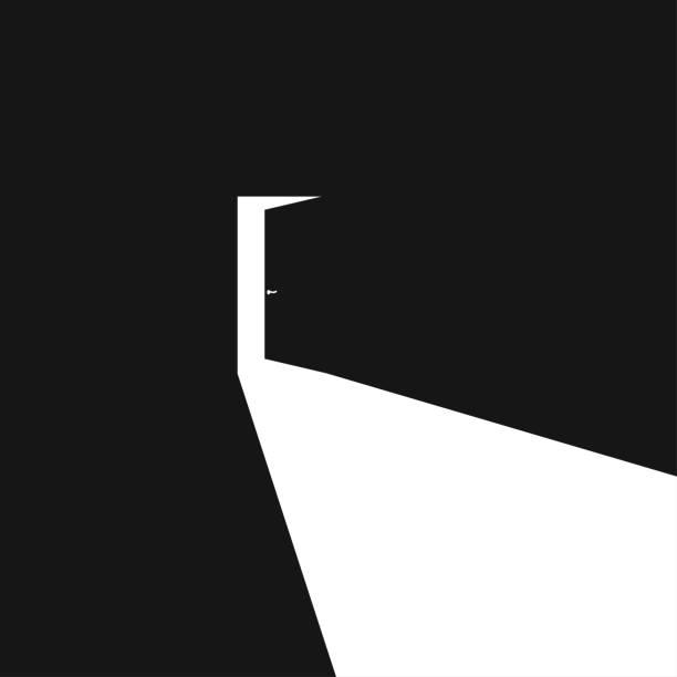 Light black door open in abstract style on dark background. Vector illustration concept Light black door open in abstract style on dark background. Vector illustration concept in flat door stock illustrations