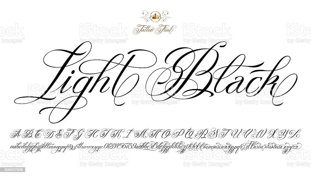 światło Czarny Tatuaż Czcionka Stockowe Grafiki Wektorowe