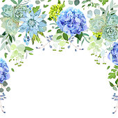 Semicircle garland floral frame arranged from plants, branches, leaves, succulents and flowers background. Light blue and green hydrangea, echeveria, eucalyptus. All elements are isolated and editable