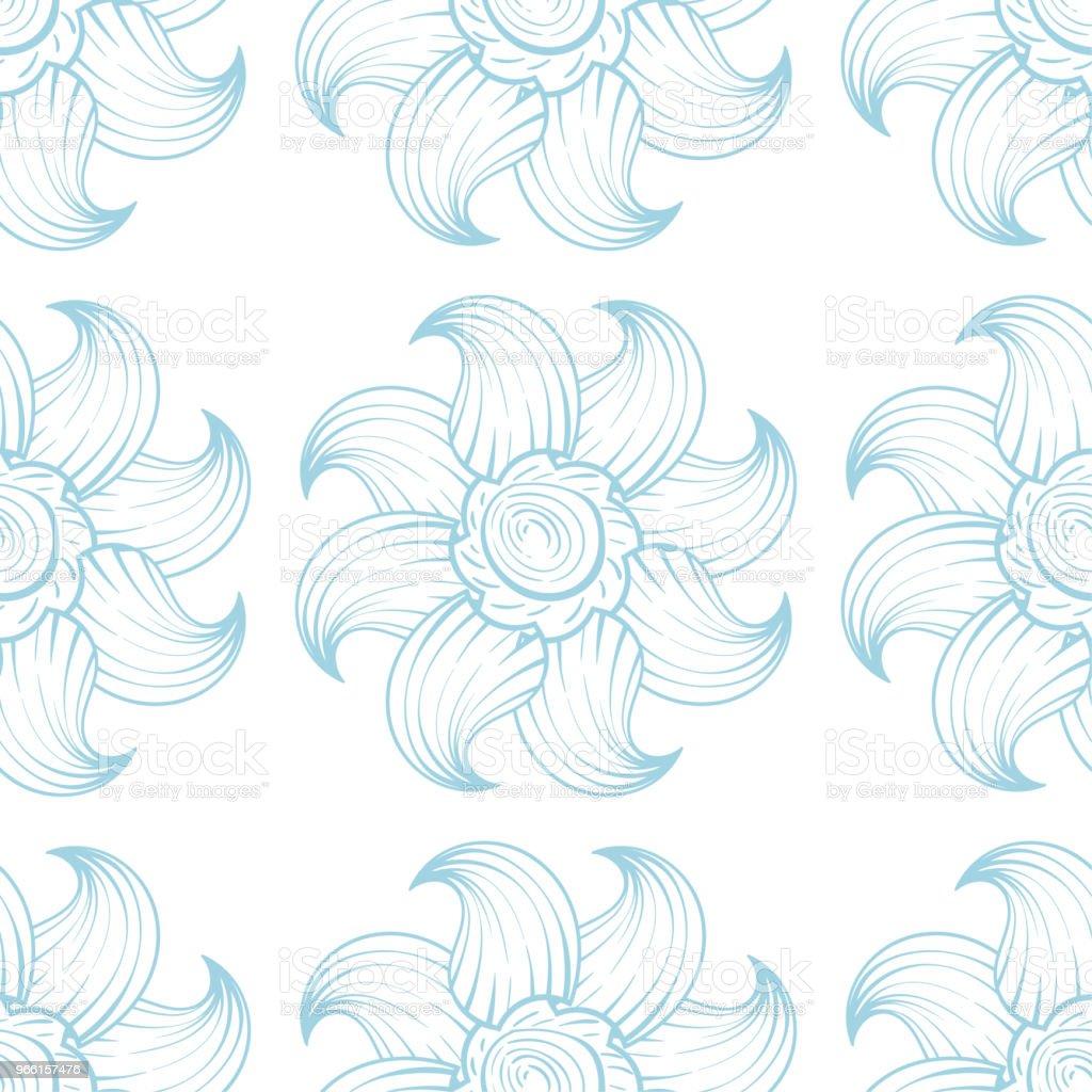 Ljus blå och vita sömlös blommönster - Royaltyfri Abstrakt vektorgrafik
