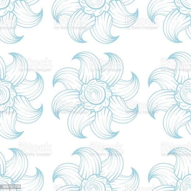 Ljus Blå Och Vita Sömlös Blommönster-vektorgrafik och fler bilder på Abstrakt