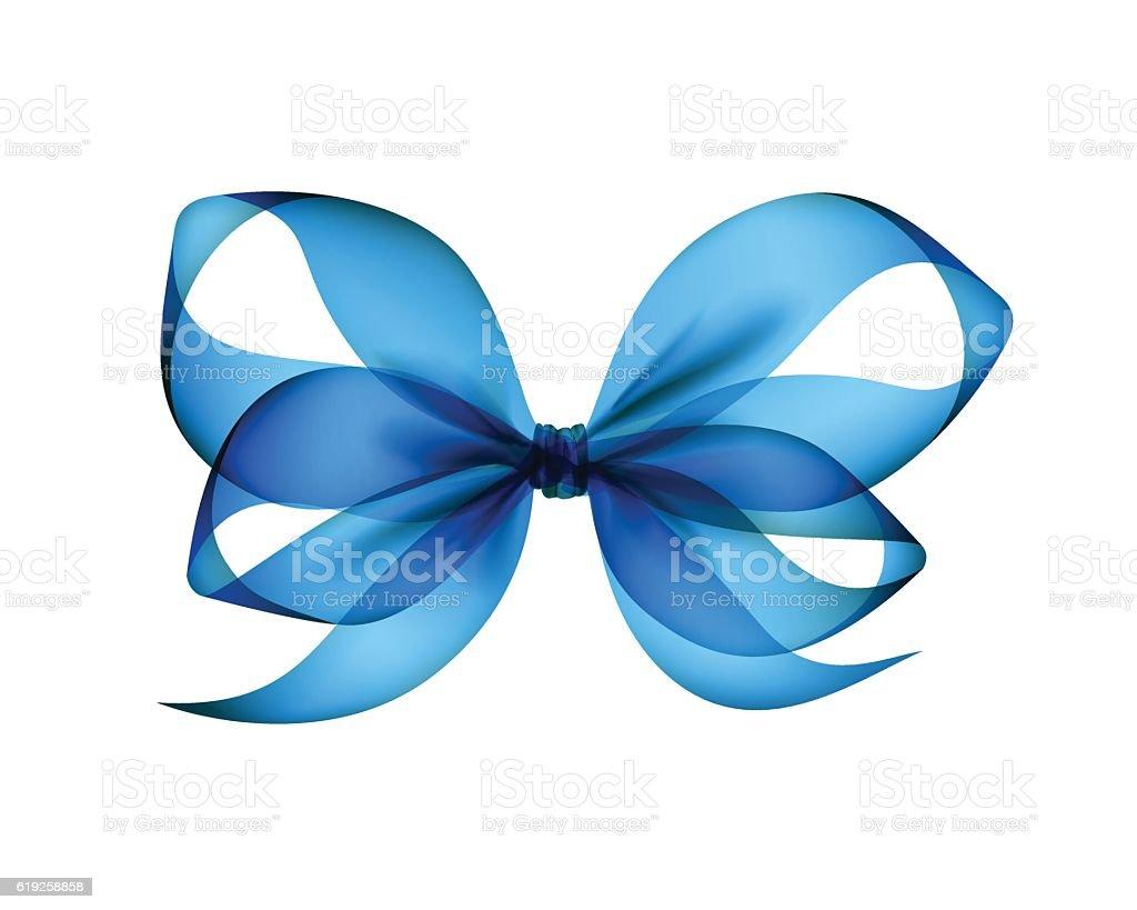 Light Blue Azure Transparent Bow Isolated vector art illustration