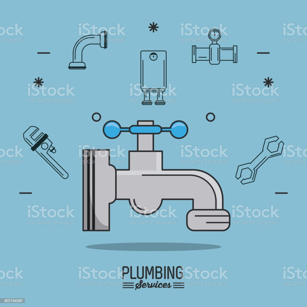 Light Blue Background Poster Plumbing Services With Faucet In