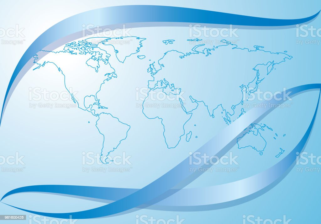 light blue background with contour of world map - vector. Eps10. vector art illustration