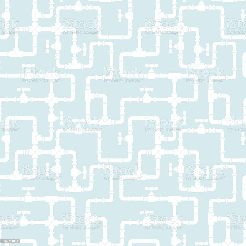 Light blue background with white pipeline pattern vector art illustration