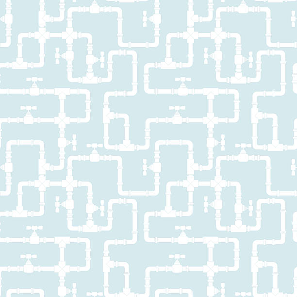 light blue background with white pipeline pattern - plumber stock illustrations, clip art, cartoons, & icons