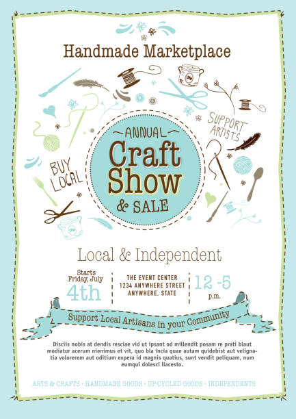 light blue craft show and sale poster design template - art and craft stock illustrations