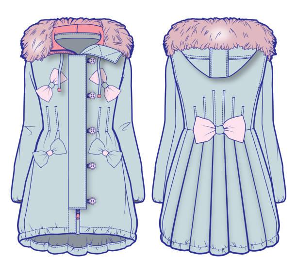 light blue-denim-mantel mit rosa fell und niedliche verzierung - parkas stock-grafiken, -clipart, -cartoons und -symbole