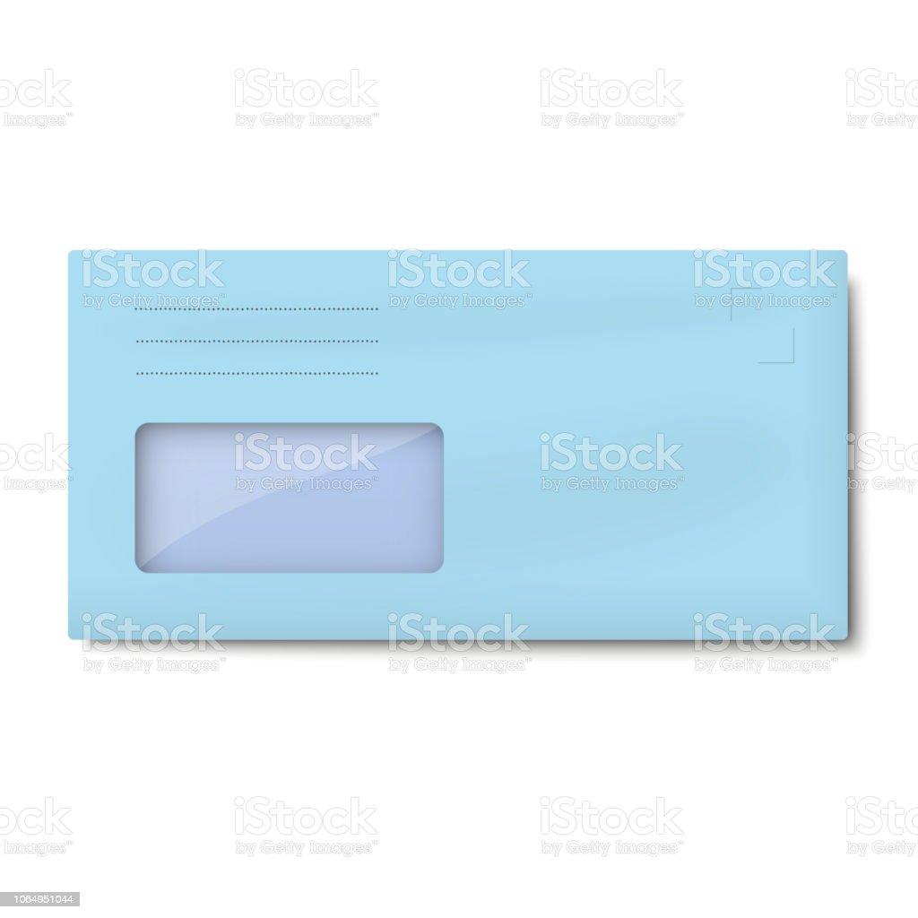 Enveloppe Bleu Clair De Dl Avec Fenêtre Adresse Isolé Sur Fond Blanc